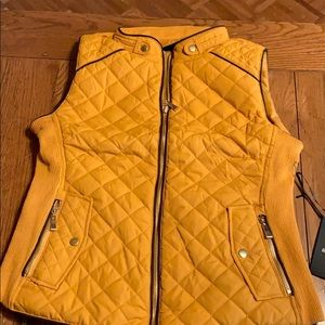 Dark mustard vest with brown piping NWT
